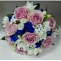 Buchet mireasa trandafiri roz si albastrii