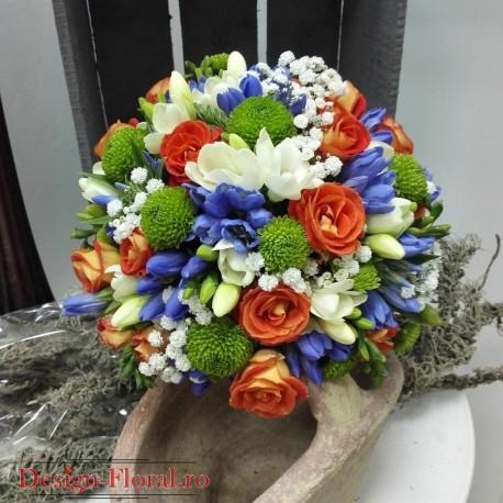 Buchet mireasa mix floral vesel