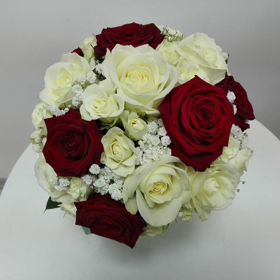 Buchet Mireasa Trandafiri Albi Si Rosii Floraria Design Floral