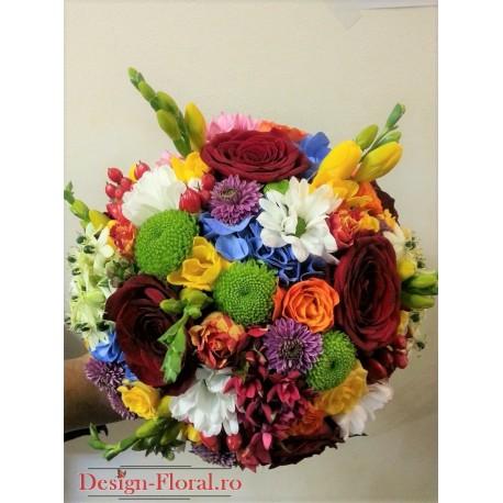Buchet mireasa mix floral colorat