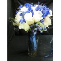 Buchet mireasa delphinium albastru
