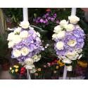 Lumanari nunta clasice hortensie si trandafiri