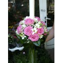 Lumanari nunta rotund trandafiri si frezii