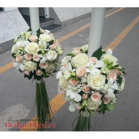 Lumanari nunta minirose si orhidee