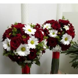 Lumanari nunta trandafiri si margarete