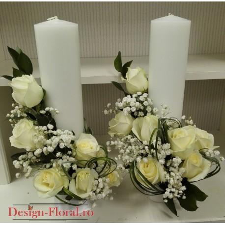 Lumanari nunta scurte trandafiri albi