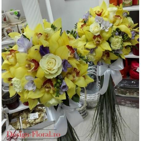 Lumanari nunta frezii mov si orhidee