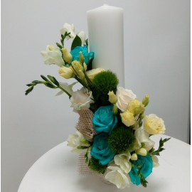 Lumanari nunta trandafiri turcoaz