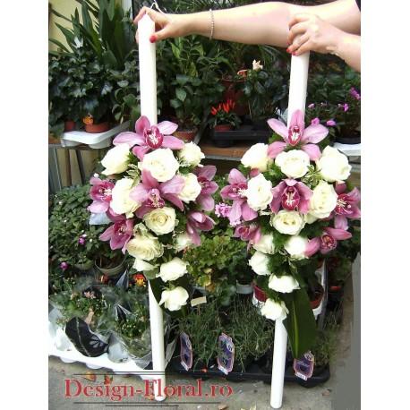 Lumanari nunta din trandafiri si orhidee