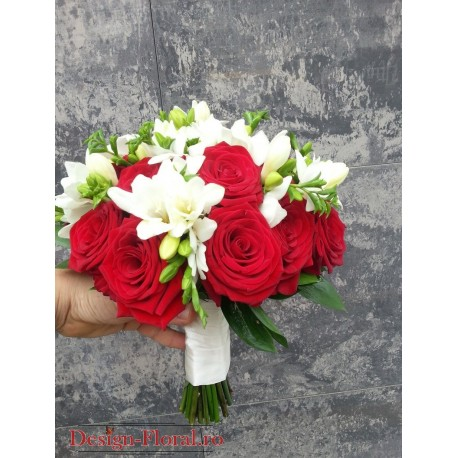 Buchet cununie trandafiri rosii