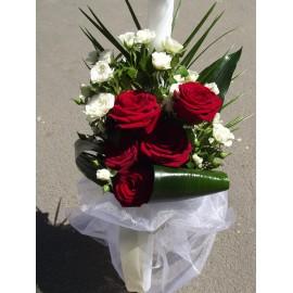 Lumanare botez trandafiri rosii si minirose
