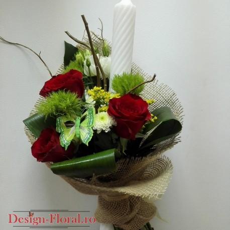 Lumanare botez trandafiri si corylius