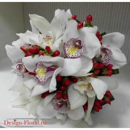 Buchet mireasa orhidee si Hypericum