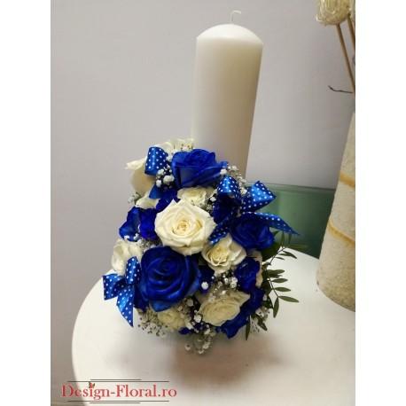 Lumanare botez trandafiri albastrii