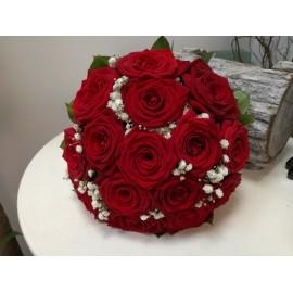 Buchet cununie trandafiri si floarea miresei
