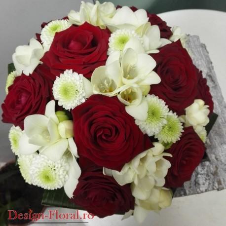 Buchet cununie trandafiri si santini