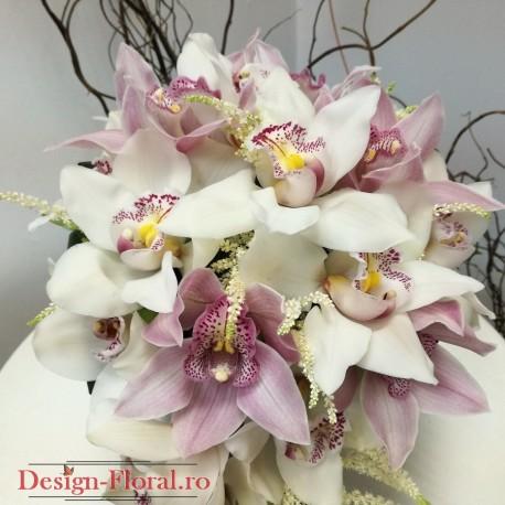 Buchet mireasa orhidee si astilbe