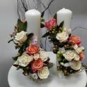 Lumanari nunta cilindrice trandafiri