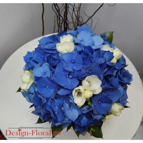 Buchet cununie hortensie albastra