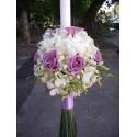 Lumanari nunta glob orhidee si trandafiri mov