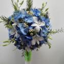 Lumanare botez hortensie albastra si orhidee