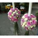 Lumanari nunta glob trandafiri mov, lila si minirose