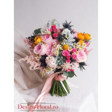 Buchet mireasa asimetric mix floral