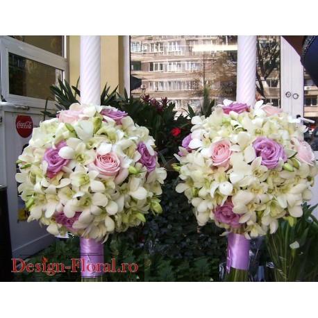Lumanari nunta sferice din orhidee si trandafiri roz
