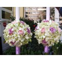 Lumanari nunta glob orhidee si trandafiri roz