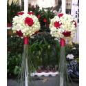 Lumanari nunta glob orhidee si trandafiri rosii