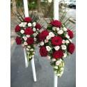 Lumanari nunta curgatoare trandafiri si minirose