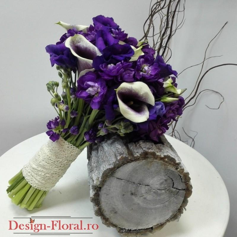 Buchet Mireasa Cale Si Mathiola Mov Floraria Design Floral