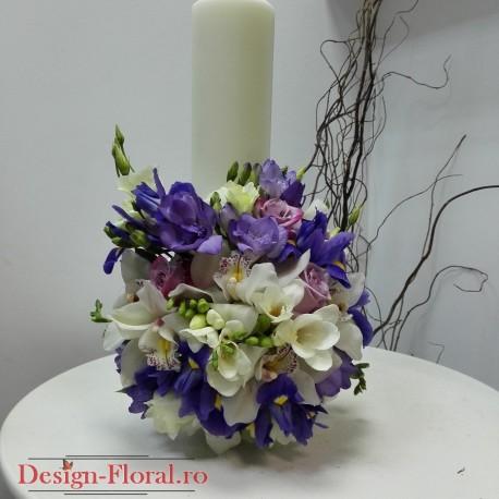 Lumanare botez scurta iris si orhidee
