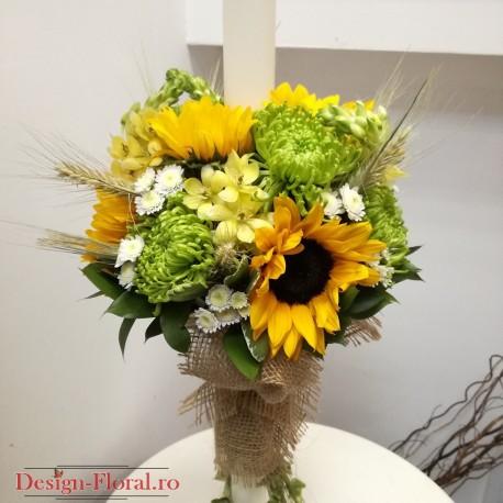 Lumanari cununie floarea soarelui si spice de grau