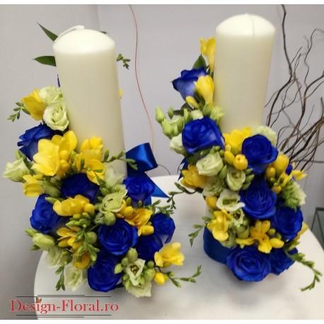 Lumanari nunta scurte trandafiri albastrii