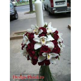 Lumanari nunta glob din miniroze si orhidee imperiala