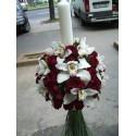 Lumanari nunta glob minirose si orhidee imperiala