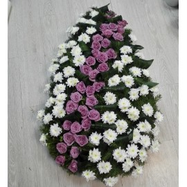 Coroana funerara trandafiri si crizanteme