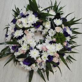 Coroana funerara rotunda lisianthus