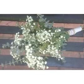 Buchet cununie floarea miresei si eucalit