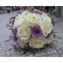 Buchet cununie trandafiri si wax flower