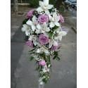 Lumanari nunta curgatoare orhidee Cymbidium si trandafiri