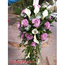 Lumanari de nunta din cale si trandafiri