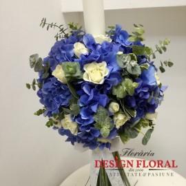Lumanari nunta hortensie si eucalipt