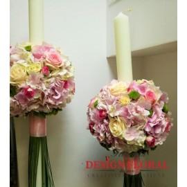 Lumanari nunta pastelate hortensii si minirose