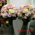 Lumanari nunta trandafiri si lisianthus