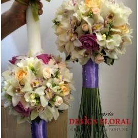 Lumanari nunta glob orhidee