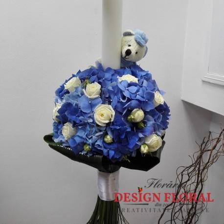 Lumanare Botez Hortensie Si Jucarie De Plus Floraria Design Floral