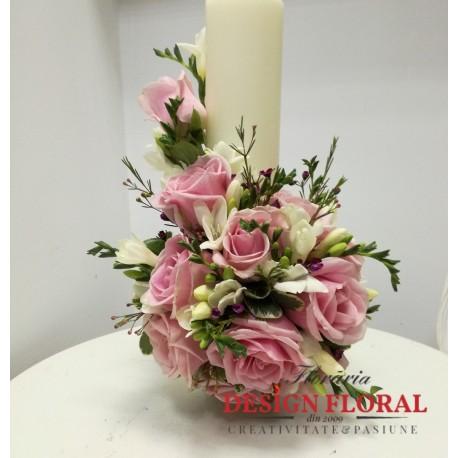Lumanare Botez Scurta Fetite Floraria Design Floral Florarie