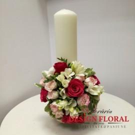 Lumanare botez scurta trandafiri si minirose